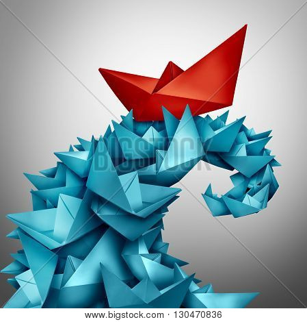 Concept of success and winning over the competition as a red paper boat riding a huge wave made of blue boats as a business metaphor for rising above and victory in a 3D illustration style.