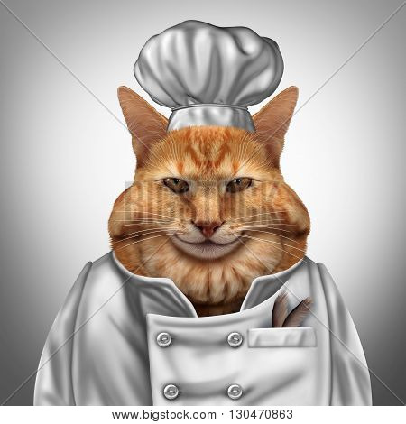 Cat chef humorous concept as a fat feline wearing a cook uniform with feathers in a pocket as a veterinarian pet nutrition symbol with 3D illustration elememnts.