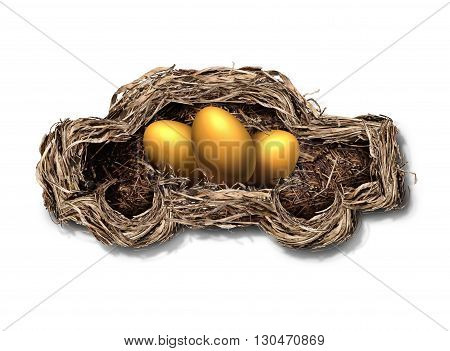 Car financing concept as a nest shaped as an automobile or auto with golden eggs inside as a financial symbol for transportation investment or leasing payments with 3D illustration elements.
