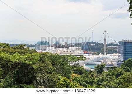 Panorama With Sentosa Island And Cable Car Seen From Mount Faber Rainforest, Singapore
