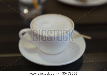 Cup Of Hot Latte Coffee With Bokeh Light, Blur Background