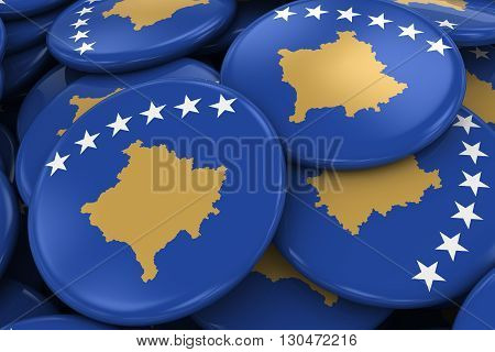 Pile Of Kosovan Flag Badges - Flag Of Kosovo Buttons Piled On Top Of Each Other - 3D Illustration