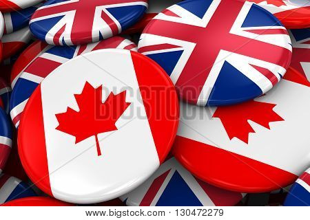 Flag Badges Of Canada And Uk In Pile - Concept Image For Canadian And British Relations - 3D Illustr