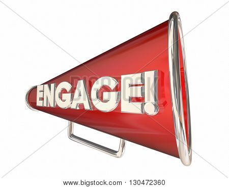 Engagement Bullhorn Megaphone Communication Word 3d Illustration