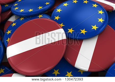 Flag Badges Of Latvia And Europe In Pile - Concept Image For Latvian And European Relations - 3D Ill