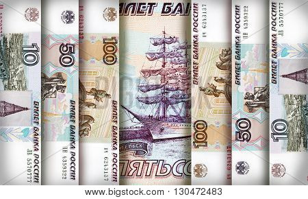 Russian Ruble bills creating a colorful background