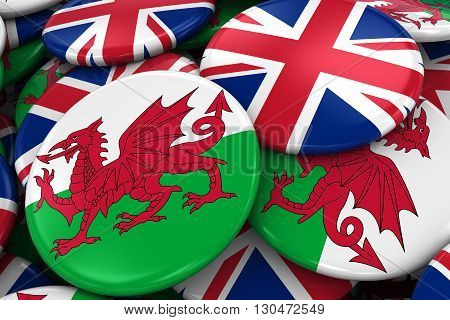 Flag Badges Of Wales And Uk In Pile - Concept Image For Welsh And British Relations - 3D Illustratio