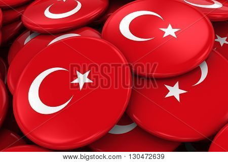 Pile Of Turkish Flag Badges - Flag Of Turkey Buttons Piled On Top Of Each Other - 3D Illustration