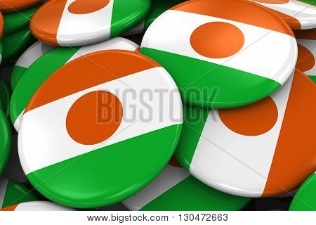 Pile Of Nigerien Flag Badges - Flag Of Niger Buttons Piled On Top Of Each Other - 3D Illustration
