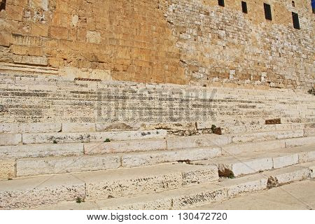 Southern Steps below the Al-Aqsa mosque, located on the south side of the temple mount in Jerusalem, Israel.