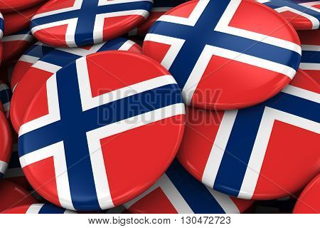 Pile Of Norwegian Flag Badges - Flag Of Norway Buttons Piled On Top Of Each Other - 3D Illustration