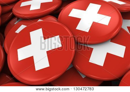 Pile Of Swiss Flag Badges - Flag Of Switzerland Buttons Piled On Top Of Each Other - 3D Illustration