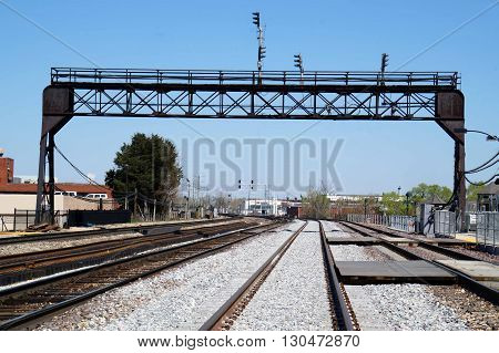 Railroad tracks cross through downtown Joliet, Illinois.