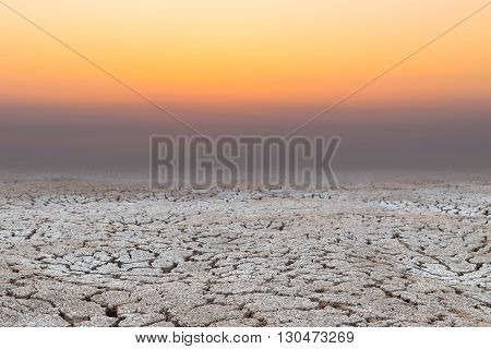 dry Soil drought cracked earth landscape sunset