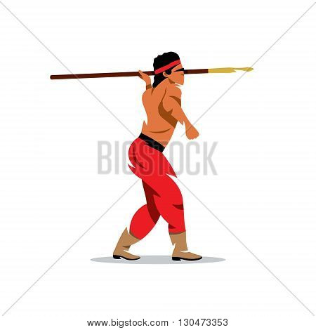 Apaches Warrior holding spear. Isolated on a white background