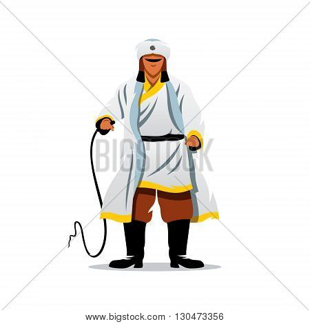 The man in white fur clothing brandishing a whip. Isolated on a white background