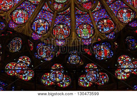 PARIS, FRANCE - MAY 31, 2015 South Rose Window VJesus Disciples Stained Glass Notre Dame Cathedral Paris France. Notre Dame was built between 1163 and 1250 AD.