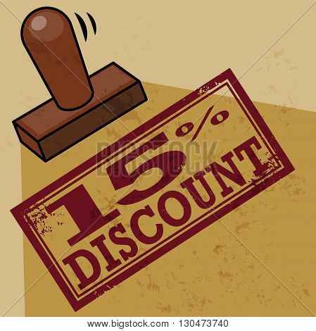 Abstract stamp 15 percent Discount, vector illustration