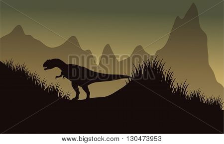 Silhouette of allosaurus in park at the afternoon