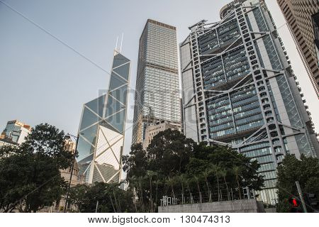 Street with modern architecture in China Hong Kong. November 28, 2015
