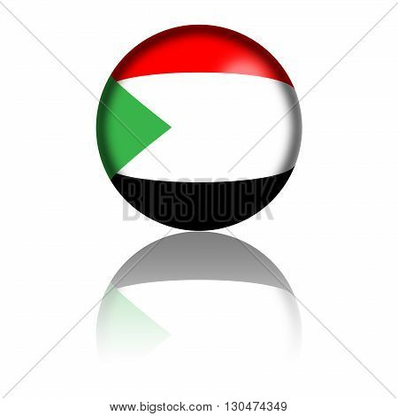 Sphere of Sudan flag with reflection at bottom, 3D rendering