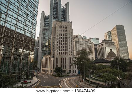 Street with modern architecture in China, Hong Kong. November 28, 2015