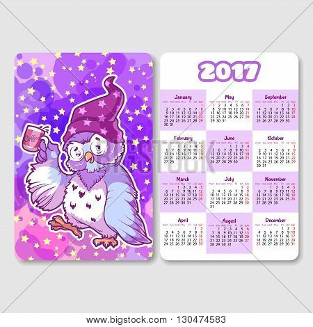 Calendar for 2017 year with sleepy owl. Week Starts Monday. Funny cartoon character. Vector calendar template vertical orientation.