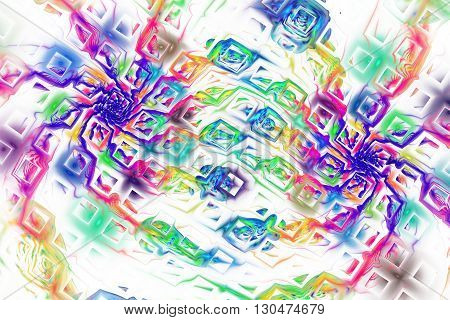 Abstract fantasy rainbow splashes on white background. Creative fractal design for greeting cards or t-shirts.