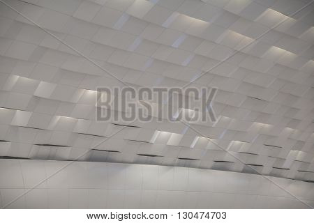 Futuristic interior wall element of modern bionic architecture. Glass and metal