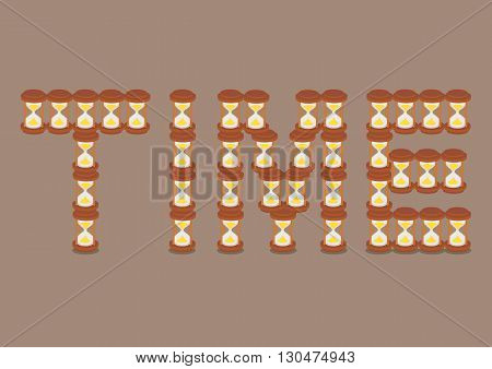 Text TIME formed by vintage hourglasses stacked on one another vector illustration isolated on brown background.