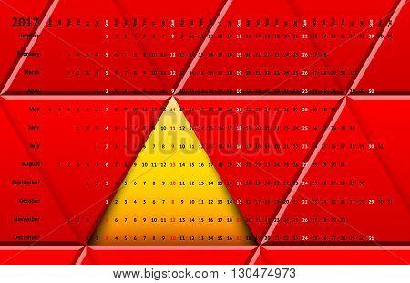Calendar 2017 with days color coding. Linear calendar grid