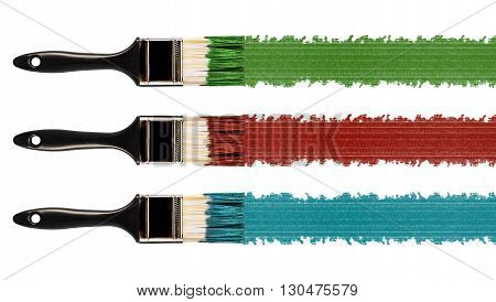 Paint brushes with colorful stroke, isolated on white background