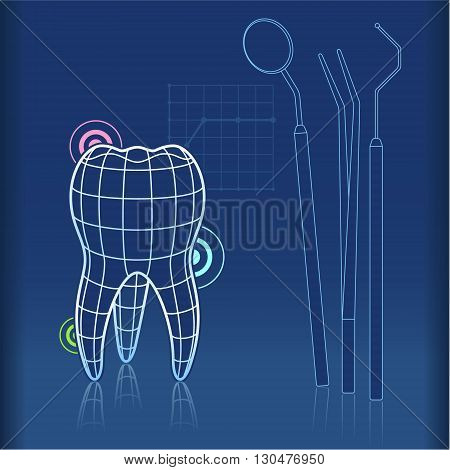 Blue print type design of tooth with grid and dentist tools like mirror tongs and pick
