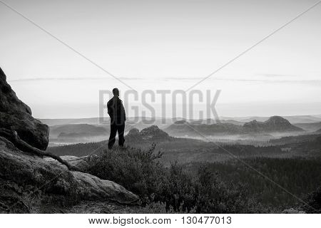 Tall Man In Black On The Cliff With Heather Bush. Sharp Rocky Mountains Park