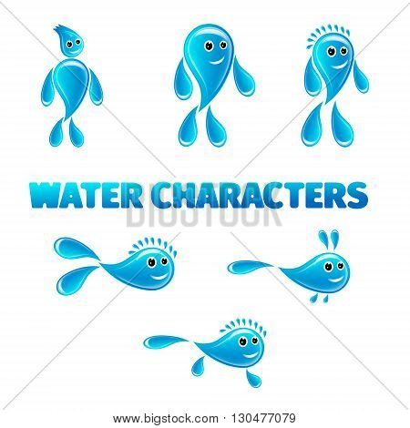 cartoon water characters on a white background