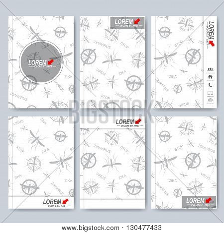 Modern vector templates for brochure, Leaflet, flyer, cover, magazine or annual report in A4 size. Book layout design. Abstract presentation book cover templates. Zika virus backgraund.