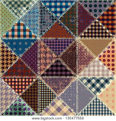 Vector abstract seamless patchwork pattern from grunge vintage  triangles.