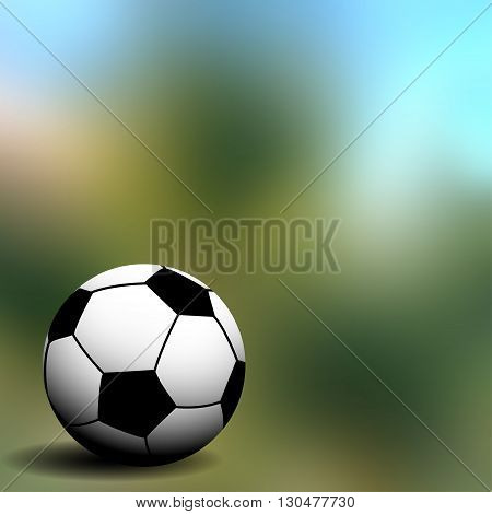 soccer ball on the green blurred background