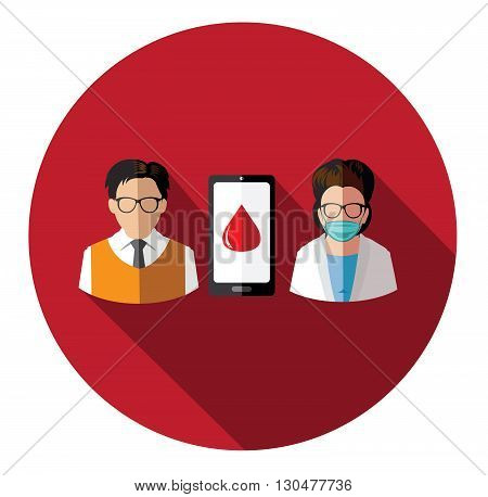 Modern flat people and doctor connecting with mobile