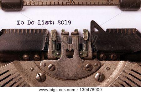 Vintage Typewriter  - To Do List 2019