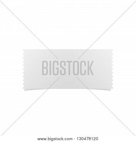Empty white Ticket realistic Template. Vector Illustration