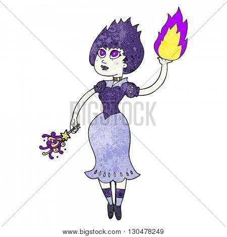 freehand textured cartoon vampire girl casting fireball
