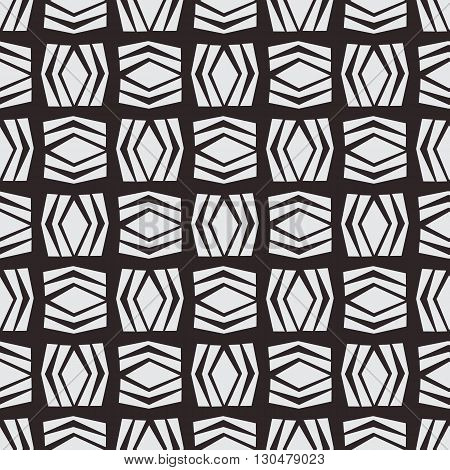 Seamless native square vector pattern in monochrome background