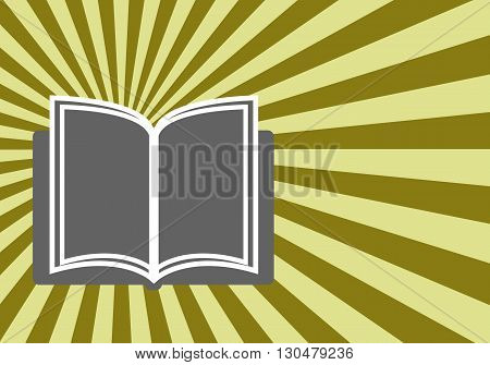 Open book against a background of light rays. Education books concept. vector illustration.