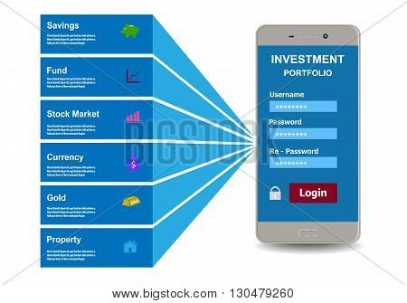 Investment portfolio design style flat. Business concept vector illustration.