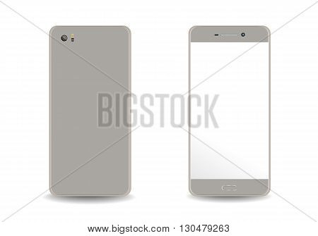 Smartphone mobile phone isolated on white realistic vector illustration.