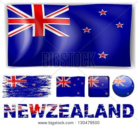 New Zealand flag in different designs and wording illustration