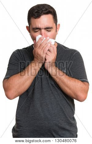 Portrait of a sick man coughing with the flu, allergy, germs,cold isolated on white background