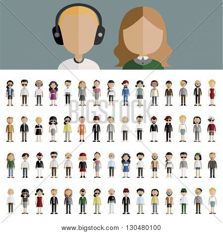 Diversity Characters People Vector Set Concept