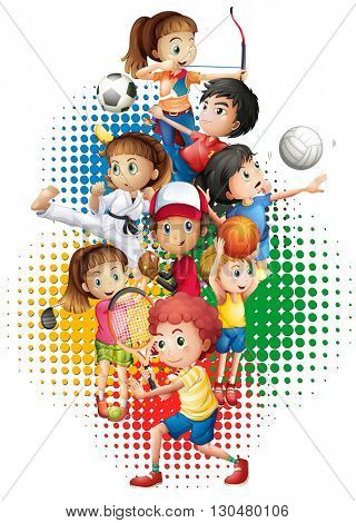 theme with many sports illustration